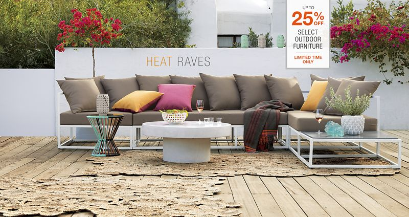 what's new under the sun. up to 25% off select outdoor furniture. limited time only