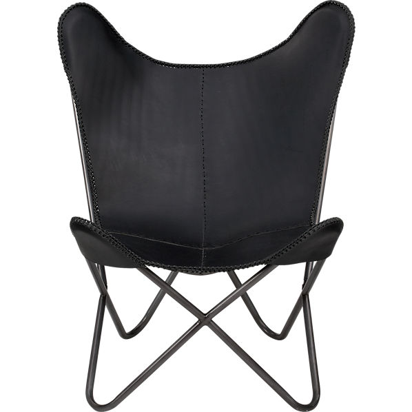 1938 black leather butterfly chair cb2. Black Bedroom Furniture Sets. Home Design Ideas