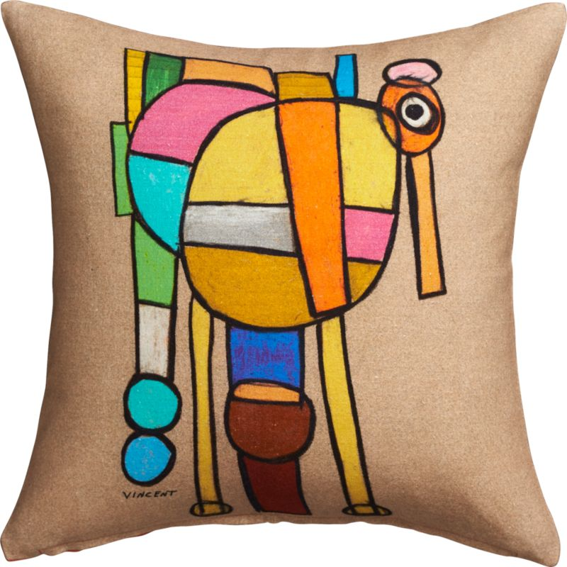 "abstract painting 16"" pillow with down-alternative insert"