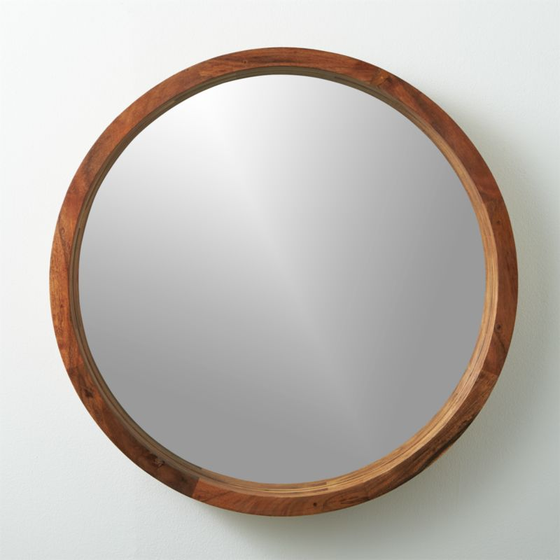 Acacia wood 24 mirror cb2 for Circle mirror