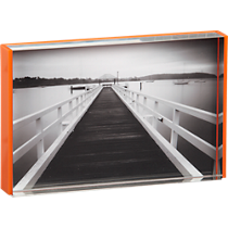 acrylic orange rim 4x6 picture frame