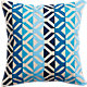 "appliqué blues 16"" pillow with feather insert"