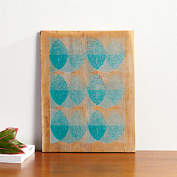 aqua circles on barnwood