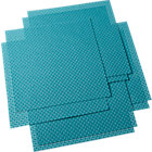 set of eight basketweave aqua placemats.