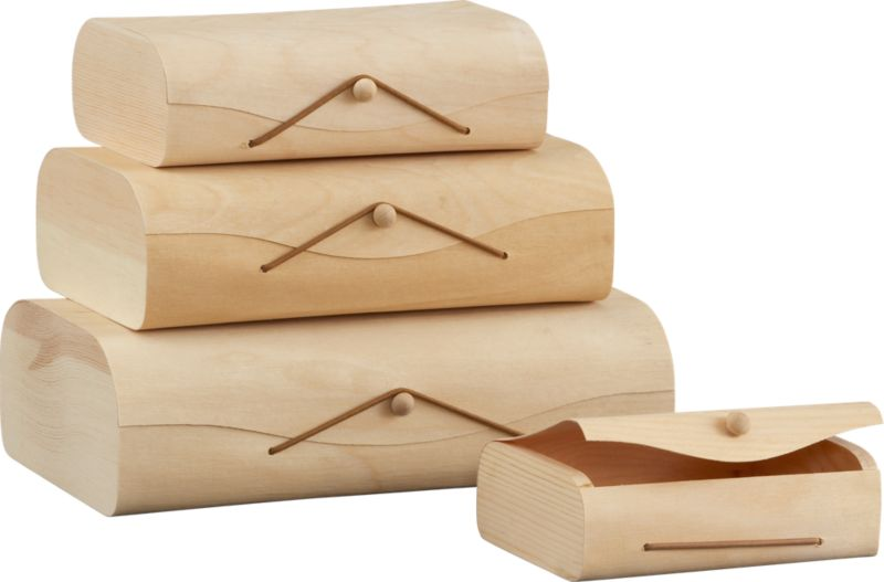 set of 4 birch storage boxes