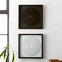 black and white concentric circles set of two