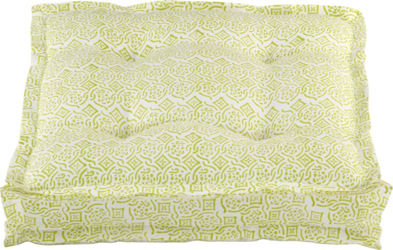 block print chartreuse and white floor pillow
