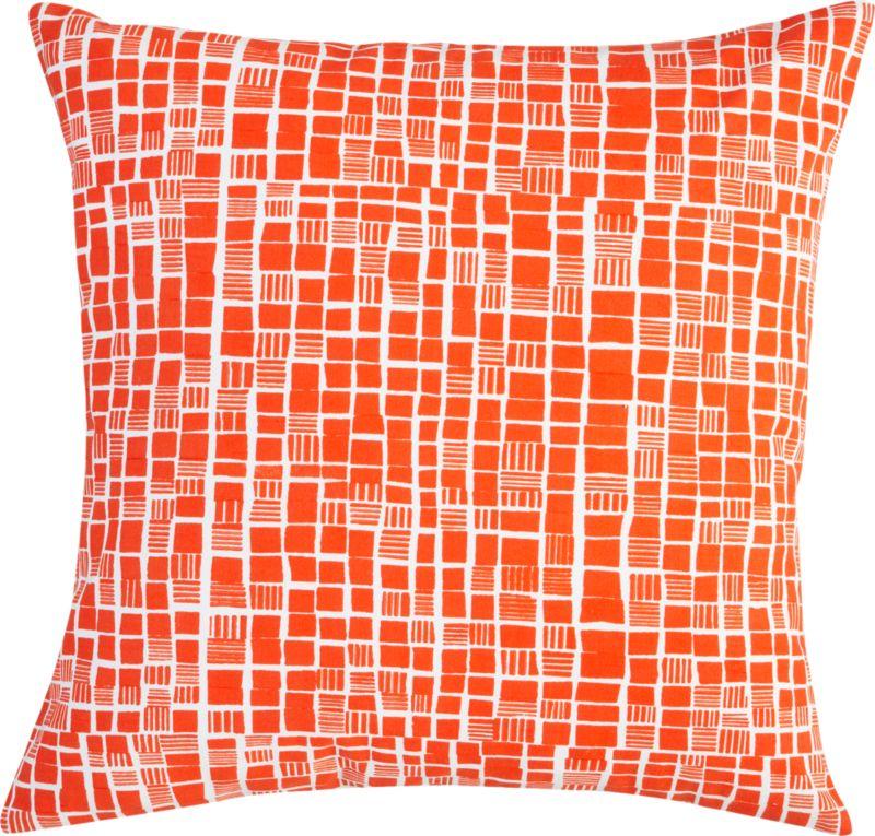 "block print orange and white 20"" pillow"