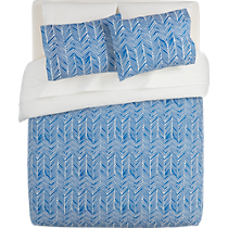 blue chevron bed linens