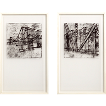 bridge architecture and <br>landscape prints set of two