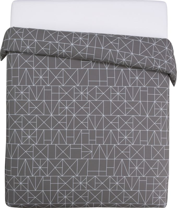 "<span class=""copyHeader"">sleep patterns.</span> Inspired by hieroglyphic symbols, Italian design team A/R studio inscribes white linear graphics on shadow in soft 200-thread-count cotton, both sides. Duvet cover has non-slip corner ties and hidden button closure. Learn more about <a rel=""external""href=""http://blog.cb2.com/home/2010/7/6/designer-profile-ar-studio.html"">A/R Studio</a> on our blog.<br /><br /><NEWTAG/><ul><li>Designed by A/R Studio</li><li>100% cotton</li><li>200 thread count</li><li>Duvet has non-slip corner ties and hidden button closure; reverses to matching pattern</li><li>Machine wash warm; do not dry clean</li></ul>"