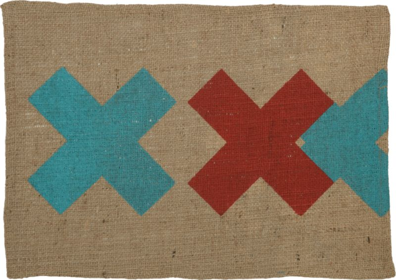 burlap red-aqua placemat