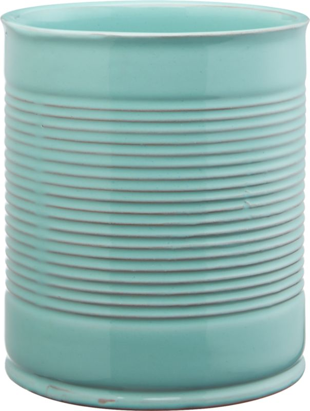 "<span class=""copyHeader"">ripple effect.</span> Pot an urban garden in tactile terracotta. Handmade ridged cylinder is dip-glazed hi-gloss aqua, revealing hints of clay beneath. Grows green indoors or out.<br /><br /><NEWTAG/><ul><li>Handmade</li><li>Terracotta</li><li>Hi-gloss aqua dip-glaze</li><li>Indoor/outdoor use</li><li>Wipe clean with soft, damp cloth</li></ul>"