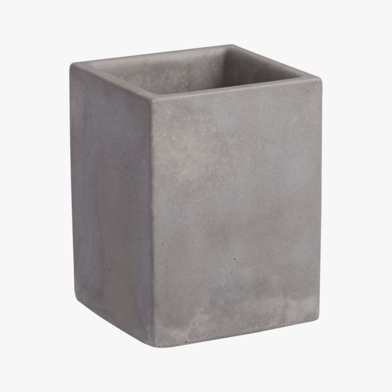 "<span class=""copyHeader"">concrete idea.</span> Rectangular vessel cements an industrial spot for pens and pencils. Honed smooth in matte grey with natural intonations, concrete works a minimalist architectural touch in the office. Perfect office mates with cement letter tray and catchall.<br /><br /><NEWTAG/><ul><li>100% concrete</li><li>Each will be unique</li><li>Wipe with clean cloth</li></ul>"