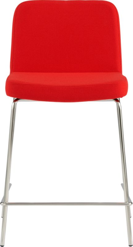 "<span class=""copyHeader"">the hot seat.</span> Pull up a seat and stay awhile. Plush stool dines comfy at counter height in a bright pop of red. Carefree acrylic basketweave is tailored trim with welt detail that traces rounded corners from curved shoulders to edge of seat. Tubular metal legs stand spare and sleek in polished nickel finish.<br /><br /><NEWTAG/><ul><li>Acrylic fabric in vibrant icon: red</li><li>Brushed nickel-plated tubular metal legs</li><li>24""H seat sized for counter</li></ul><br />"