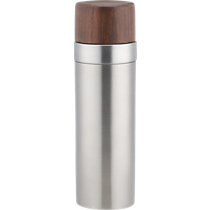 brushed stainless steel and wood cocktail shaker