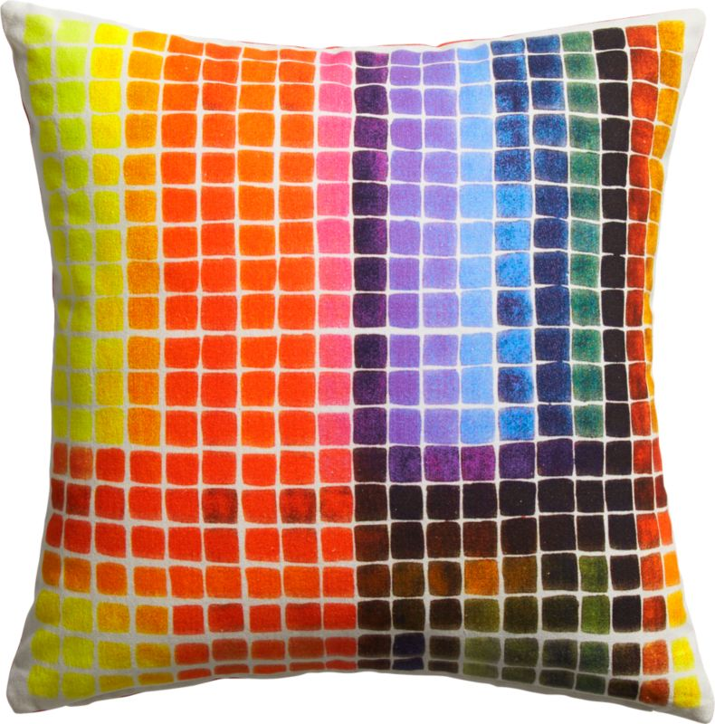 "color block 16"" pillow with feather insert"