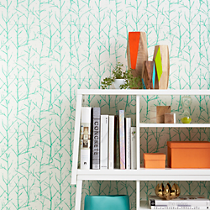 crumpled trees aqua traditional paste wallpaper
