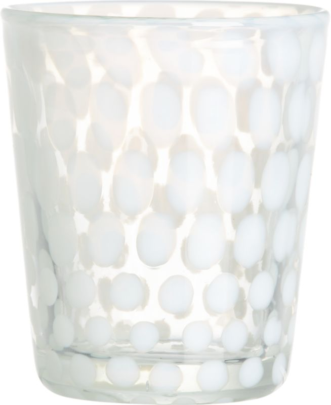 "<span class=""copyHeader"">on the spot.</span> Graduated freeform dots in cloudy white are blown right into this handmade glass, infusing cocktails and mocktails with a graphic twist. Artfully crafted cocktailer has great heft, thick walls, substantial sham.<br /><br /><NEWTAG/><ul><li>Soda glass</li><li>Freeform dot pattern</li><li>Dishwasher-safe</li></ul><br />"