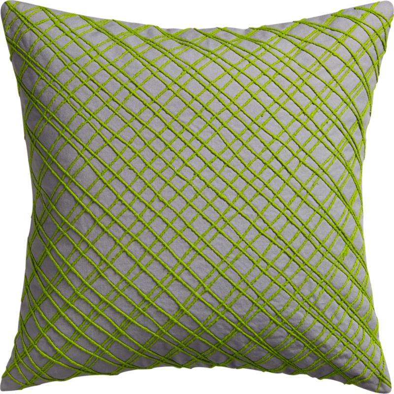 "diagonal grid 18"" pillow with feather-down insert"