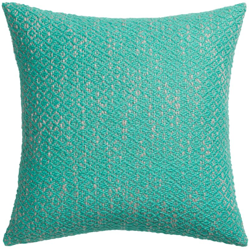 "diamond weave aqua 18"" pillow with feather-down insert"