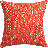 "diamond weave red-orange 18"" pillow with feather-down insert"