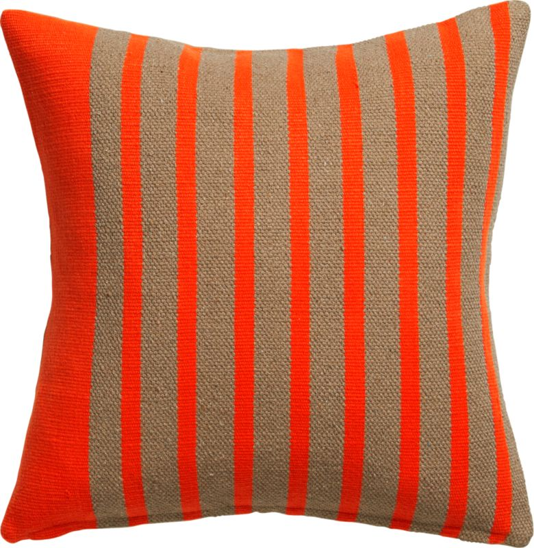 "division red orange 20"" pillow with feather-down insert"