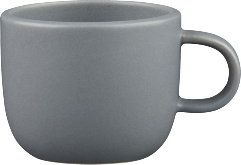 "<span class=""copyHeader"">grey scale.</span> Handmade in durable stoneware, matte grey mug is sized to sip the perfect double shot...or cuppa joe, before it gets cold. Neat design stacks to store.<br /><br /><NEWTAG/><ul><li>Handmade</li><li>Stoneware</li><li>Color variations will occur due to glazing process</li><li>Stacks to store</li><li>Dishwasher- and microwave-safe</li></ul><br />"