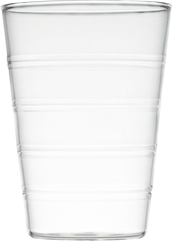 """<span class=""""copyHeader"""">clear ringer.</span> Embossed rings circle transparent texture and pattern around clean tapered form, crafted of super-durable beaker glass. Space-saving design stacks to store.<br /><br /><NEWTAG/><ul><li>Borosilicate (""""beaker"""") glass</li><li>Hand wash</li></ul>"""