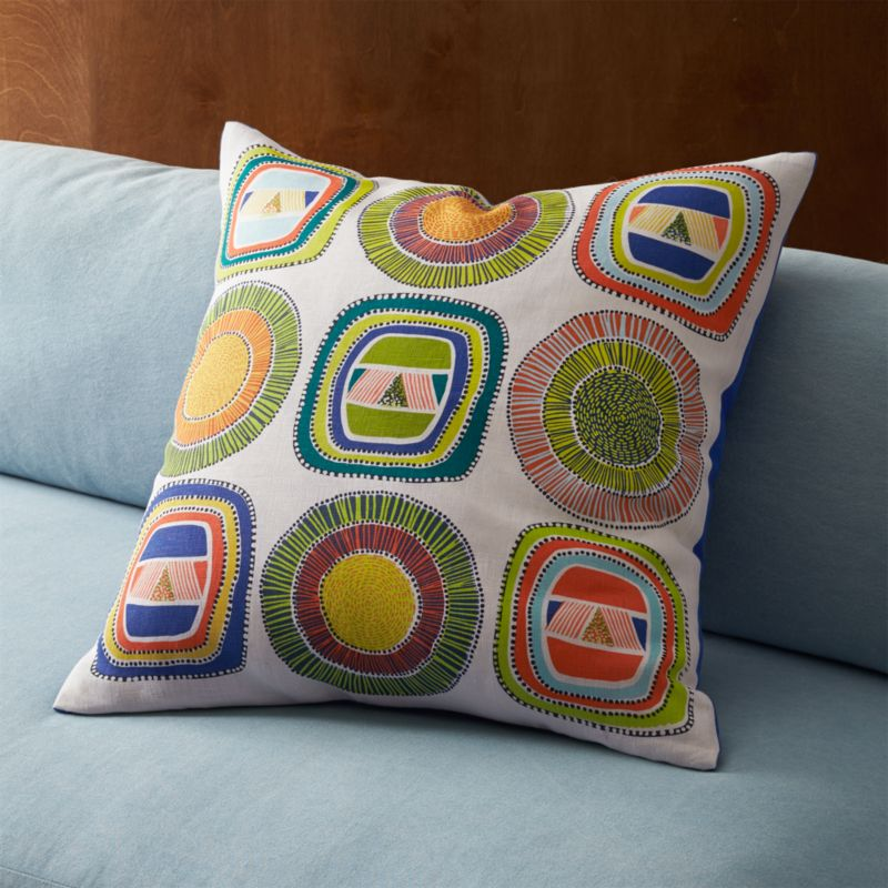 "dutch wax multi 23"" pillow with down-alternative insert"