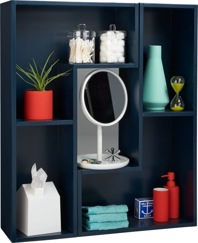 elston navy blue modular shelf