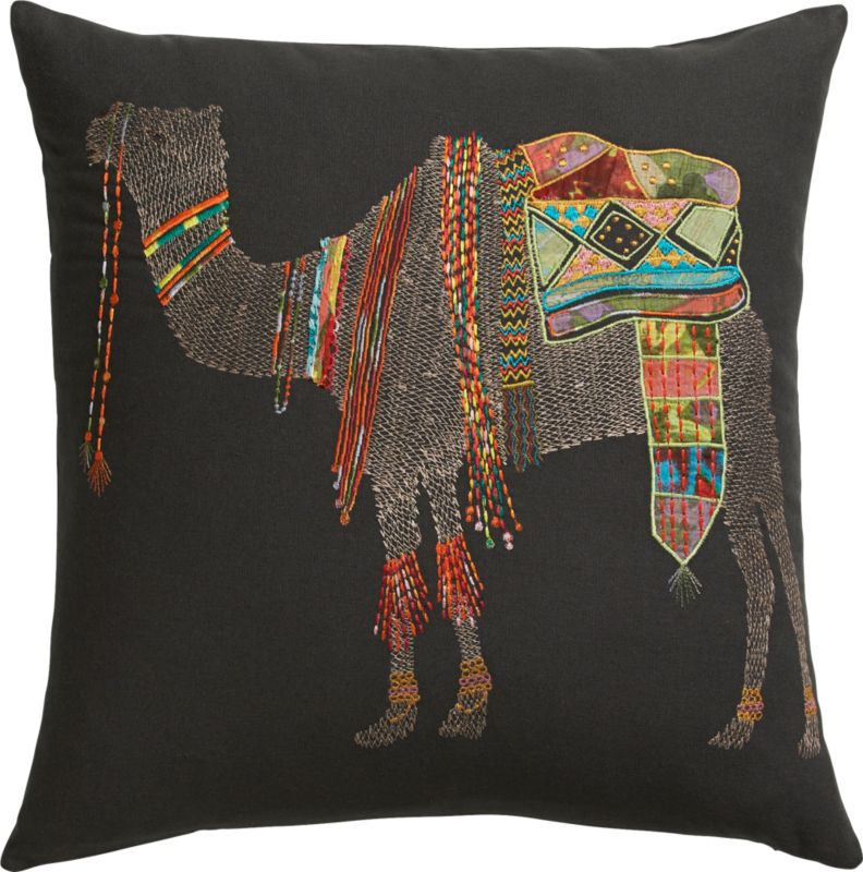 "embroidered camel 18"" pillow"