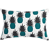"escape teal pineapples 18""x12"" pillow with feather-down insert"