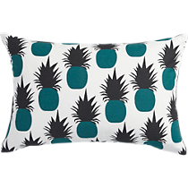 "escape teal pineapples 18""x12"" pillow"