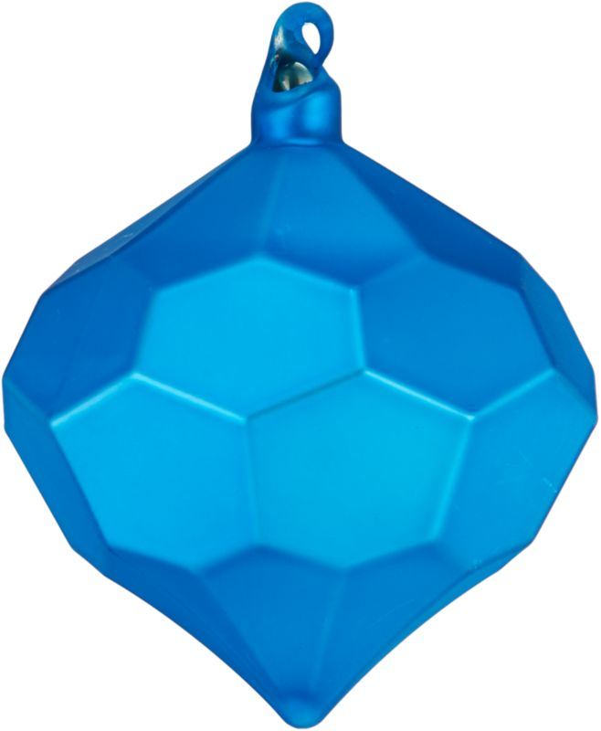 "<span class=""copyHeader"">rare gem.</span> Modern glass bulb is festive from every faceted angle in matte blue.<br /><br /><NEWTAG/><ul><li>Glass</li><li>Painted matte blue</li></ul>"