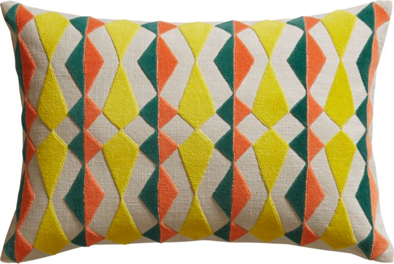 "faceted applique 18""x12"" feather-down pillow"