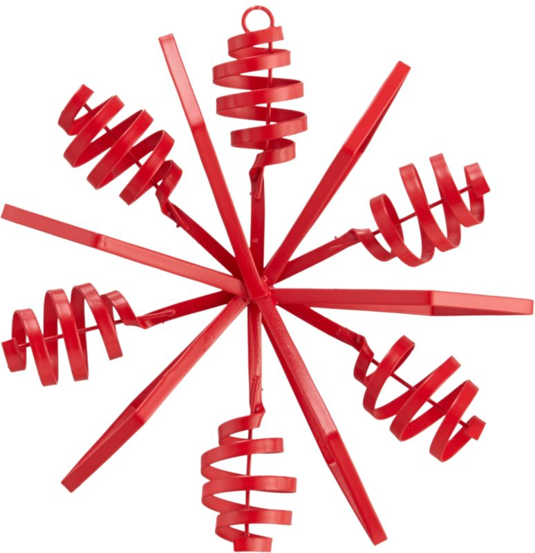 "<span class=""copyHeader"">twist and snow.</span> Bright red snowflake pops industrial in hand-bent iron sheet metal.<br /><br /><NEWTAG/><ul><li>Hand-bent iron sheet metal</li><li>Painted red</li></ul>"