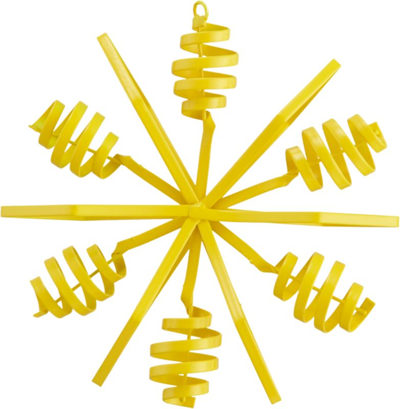 "<span class=""copyHeader"">twist and snow.</span> Bright yellow snowflake pops industrial in hand-bent iron sheet metal.<br /><br /><NEWTAG/><ul><li>Hand-bent iron sheet metal</li><li>Painted yellow</li></ul>"