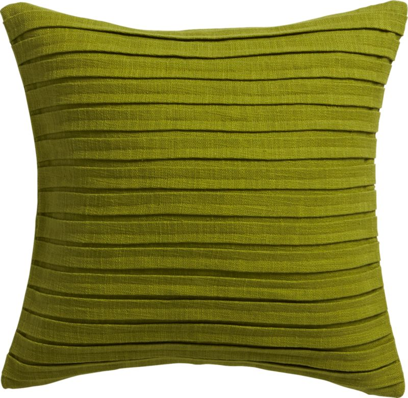 "fold green 16"" pillow with feather-down insert"