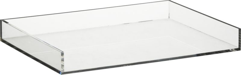 """<span class=""""copyHeader"""">clean your desk.</span> Or anywhere you have stuff. Crystal clean acrylic desk accessory organizes in not-so-plain sight.<br /><br /><NEWTAG/><ul><li>Clear acrylic</li><li>Clean with dry cloth</li></ul><br />Visit blog.cb2.com to learn more about <a rel=""""external""""href=""""http://blog.cb2.com/home/2010/7/14/material-world-acrylic.html""""> acrylic</a>."""