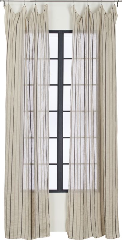French-Belgian natural linen stripe panel