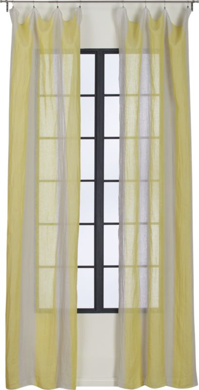 French-Belgian white stripe yellow linen panel