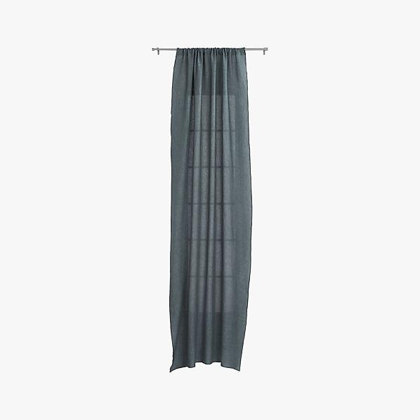 French Belgian Graphite Linen Curtain Panel 48 X120 Cb2
