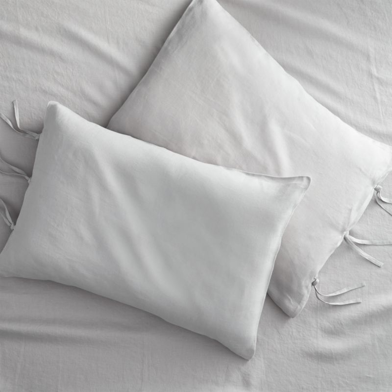 set of 2 French-Belgian linen shale standard pillowcases