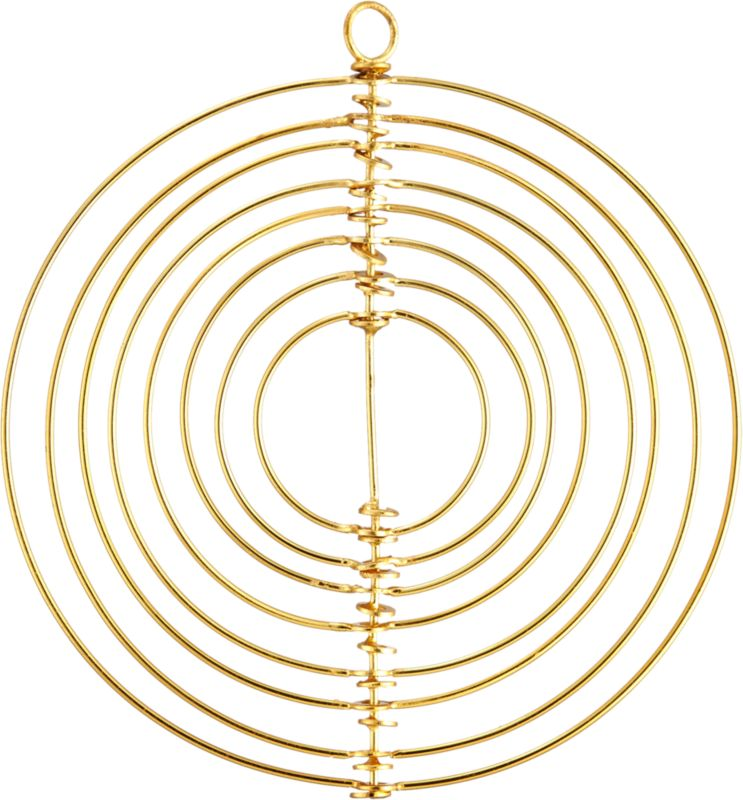"<span class=""copyHeader"">hypnotic holiday.</span> Creating a sense of modern movement, celestial sculpture suspends concentric rings to 3D effect. Handcrafted of iron with gleaming brass finish, ornament is out of this world in multiples on the tree or mantel.<br /><br /><NEWTAG/><ul><li>Handcrafted iron with brass finish</li><li>Wipe clean with damp cloth</li></ul>"