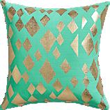 """geometric foil aqua 16"""" pillow with down-alternative insert"""