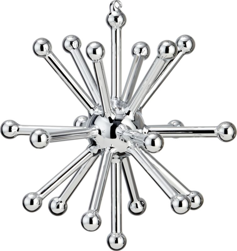 glass sputnik silver large ornament