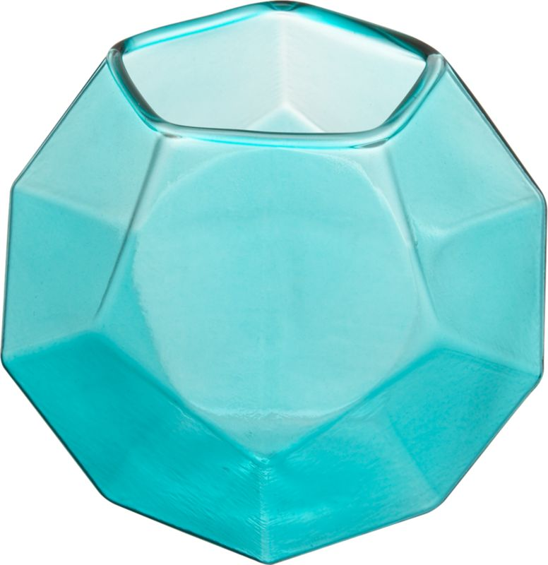 aqua glass candle holder