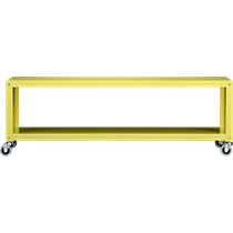 go-cart chartreuse two-shelf table-media cart