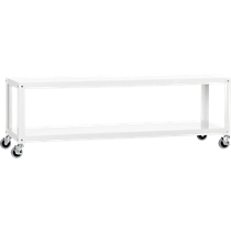 go-cart white rolling 2-shelf table-media console